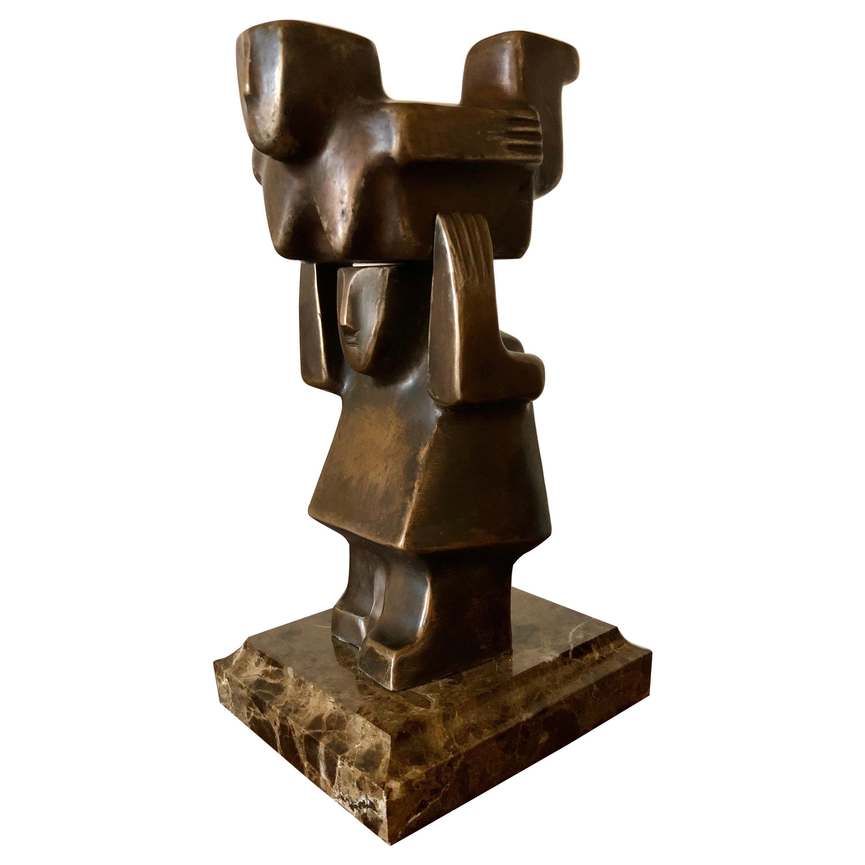 """The Acrobats"" Bronze Sculpture by Fedor Krushelnitsky"