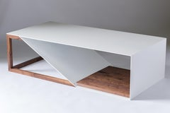 The Aluminum Cortado, Modern Powder Coated Aluminum  and Walnut Coffee Table
