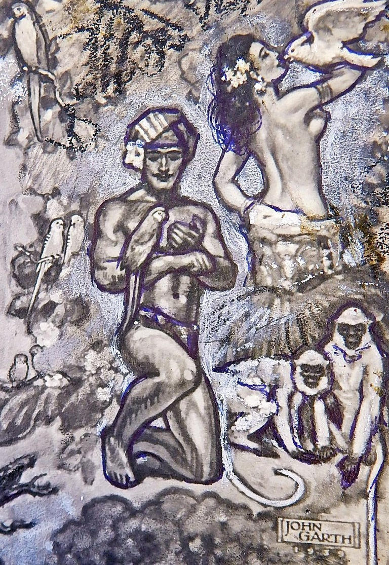 Mid-20th Century 'The Animal Kingdom,' Art Deco Mural Study with Male Nudes by John Garth For Sale