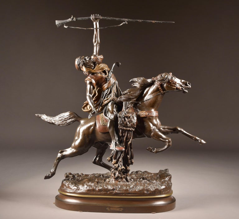 Patinated Arab Fantasia by Prosper Lecourtier For Sale