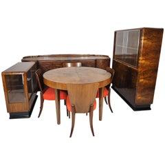 The Art Deco Walnut Veneered Room Designed by Jindřich Halabala for UP Závody