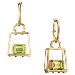 "The Art of Travel ""Gem In Handbag"" Hoop Earrings 18k Yellow Gold, Peridot"