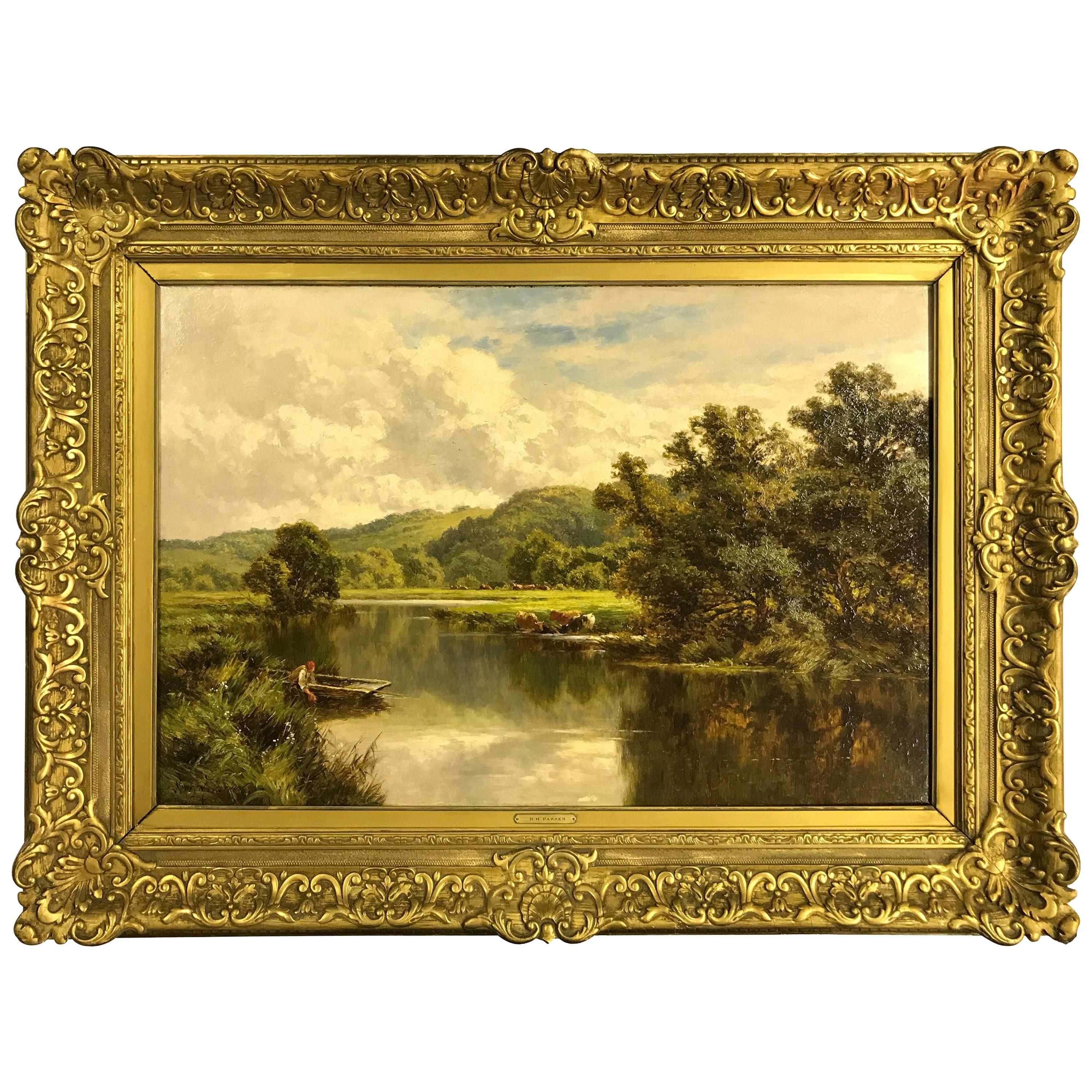 'The Avon' Ringwood, Hampshire by Henry H. Parker '1858-1930'