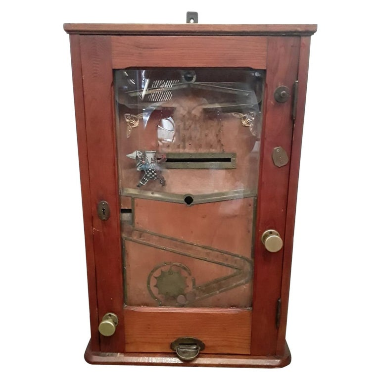 """the Bajazzo"" Wooden Slot Machine, Art Nouveau Slot Machine For Sale"
