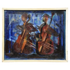 The Bassists, Original Midcentury Abstract Oil Painting by William Ernst Burwe