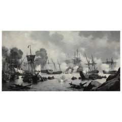 The Battle of Dynekilen June-July 1716 Carl Neumann Signed Painting