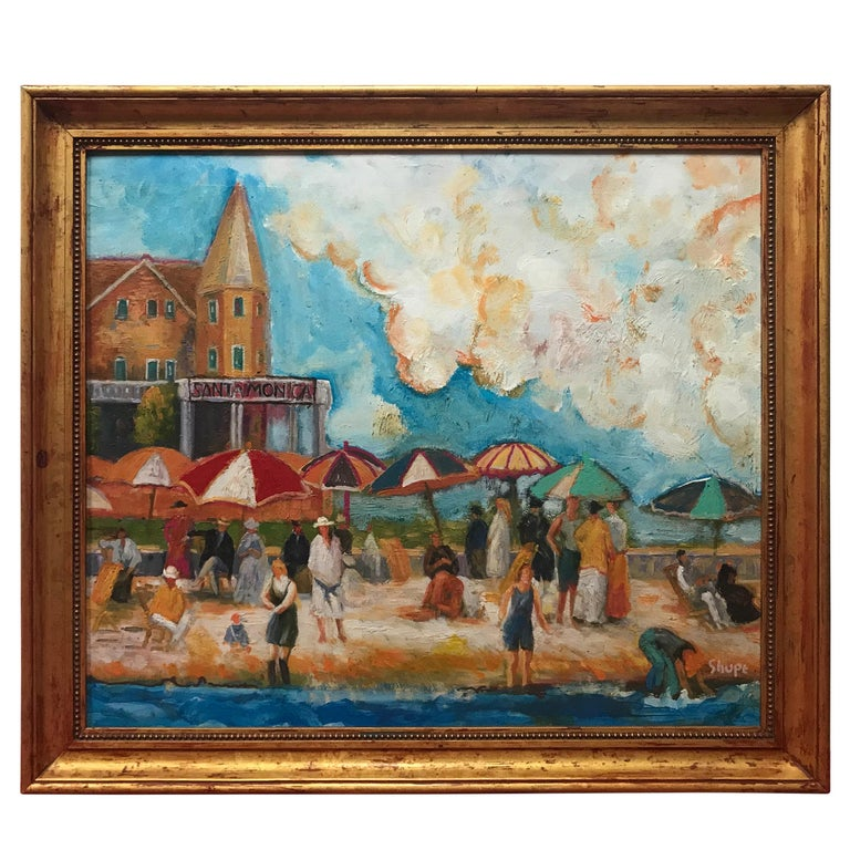 The Beach at Santa Monica by Dan Shube For Sale