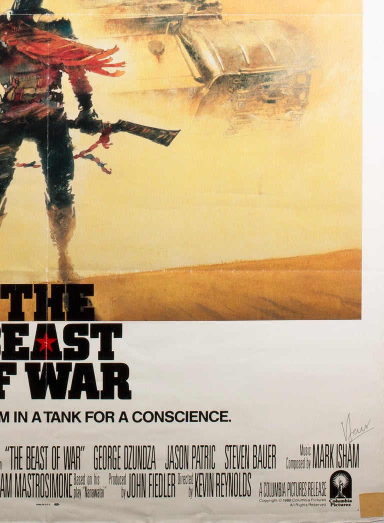 A striking design by celebrated British film poster designer Vic Fair features on the International 1 Sheet for 1980s The Beast of War.  A fabulous poster and what is particularly special about this one is that it has been signed by Fair at the