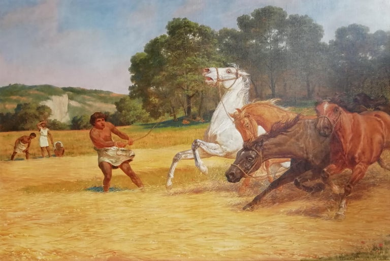 Lemmo Rossi Scotti (Perugia 1848-Roma 1926) The beating of hay in the golden age Signed lower left: Lemmo R S  Lemmo Rossi-Scotti, count of Montepetriolo, one of the most prolific 19th century painters of battles, was the son of Gaspare, who had