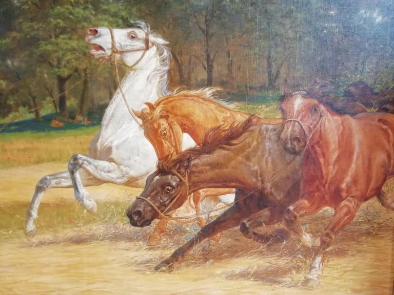 Oiled The Beating of Hay in the Golden Age Lemmo Rossi Scotti 19th-20th Century Horses For Sale