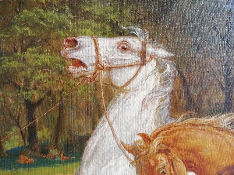 The Beating of Hay in the Golden Age Lemmo Rossi Scotti 19th-20th Century Horses In Good Condition For Sale In Rome, Italy