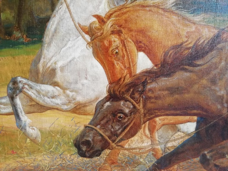 1890s The Beating of Hay in the Golden Age Lemmo Rossi Scotti 19th-20th Century Horses For Sale