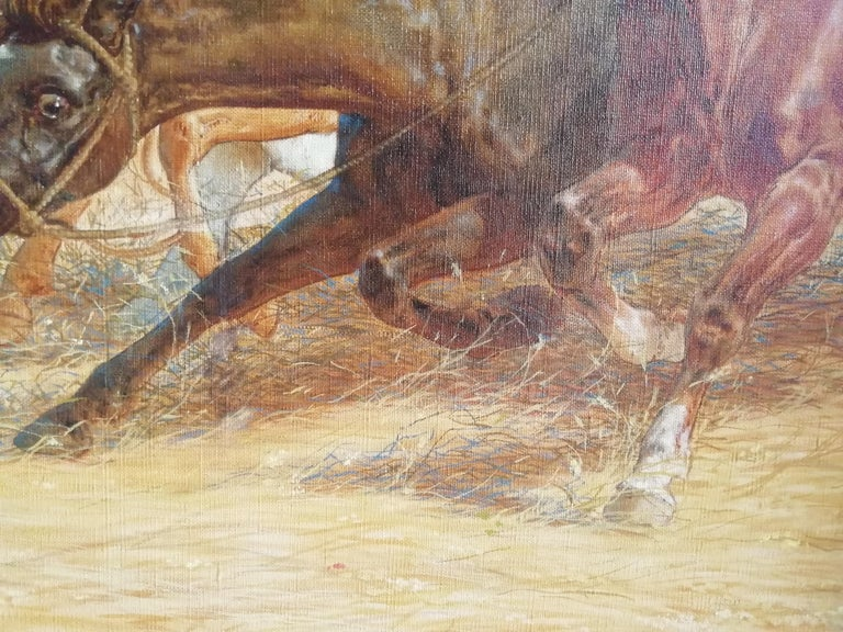 Canvas The Beating of Hay in the Golden Age Lemmo Rossi Scotti 19th-20th Century Horses For Sale