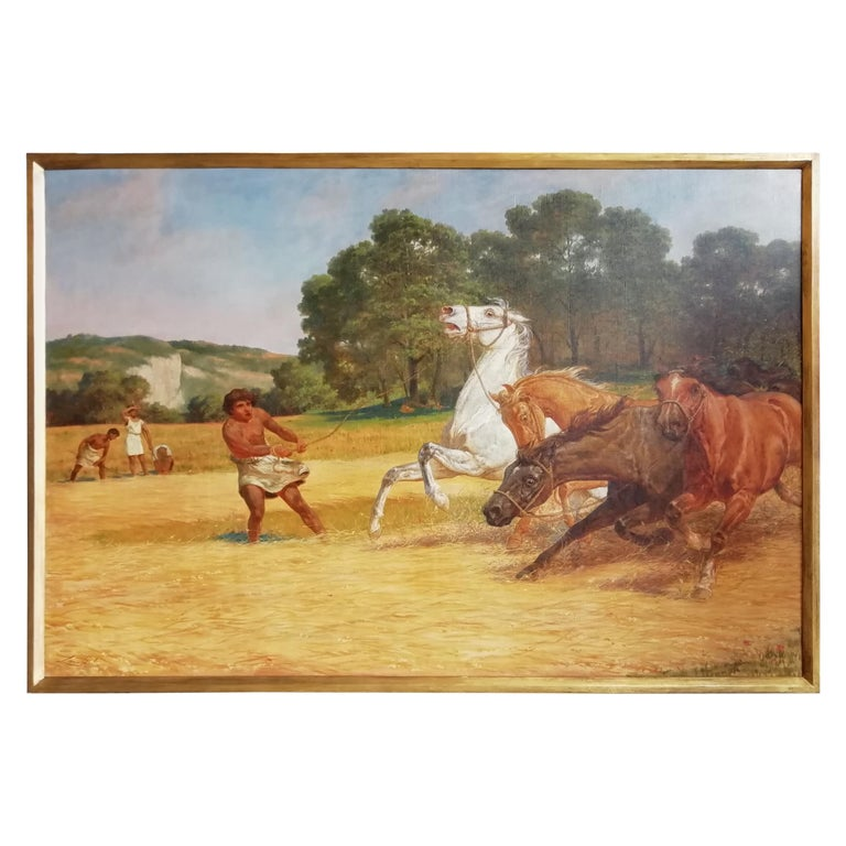 The Beating of Hay in the Golden Age Lemmo Rossi Scotti 19th-20th Century Horses For Sale