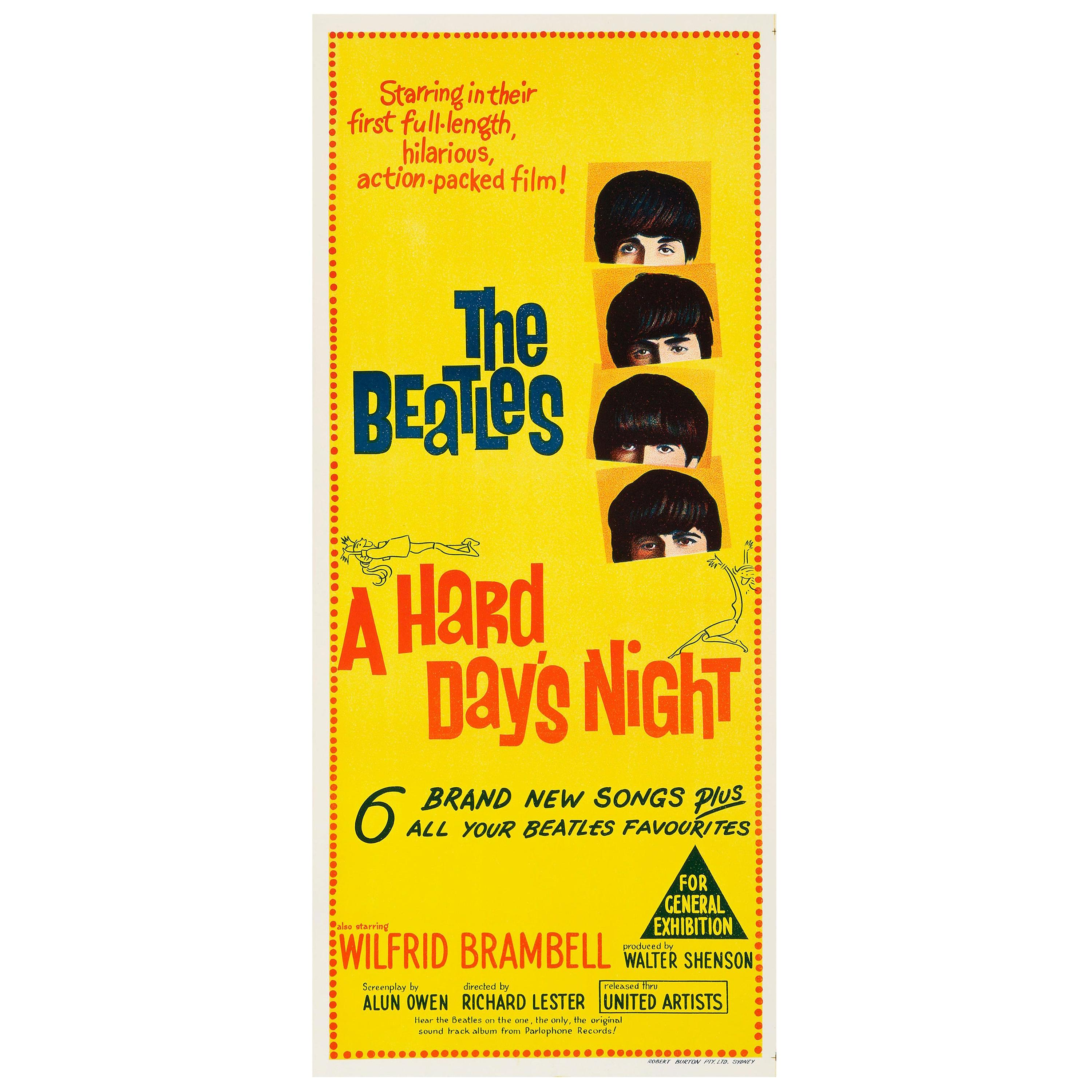 The Beatles 'A Hard Day's Night' Vintage Australian Daybill Movie Poster, 1964