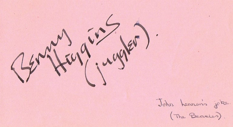 - Set of gorgeous Beatles autographs: John Lennon, Paul McCartney and George Harrison. - Accompanied by another page from an autograph book, where Lennon has also signed