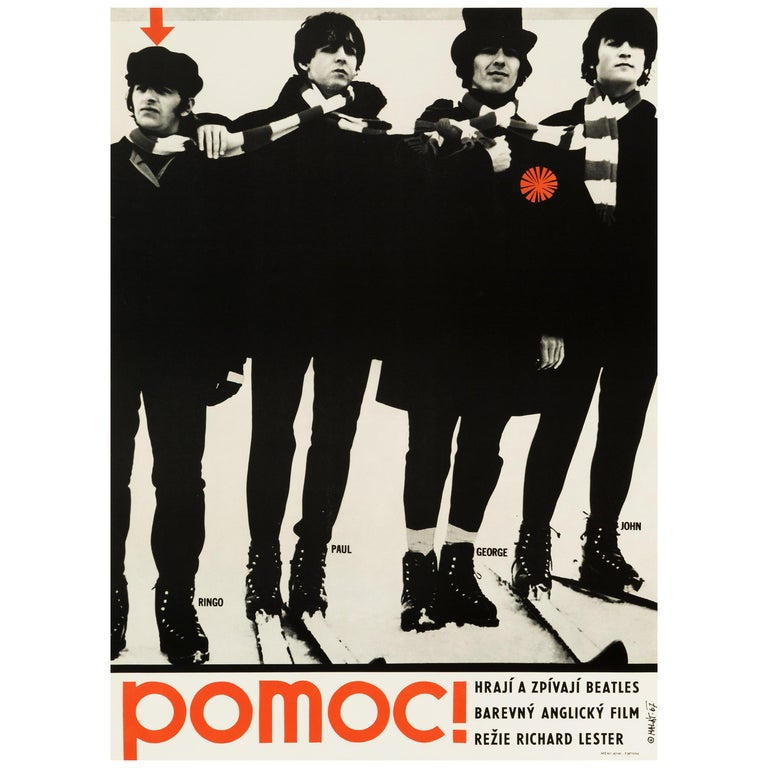 The Beatles 'Help!' Original Vintage Czech Movie Poster, 1967