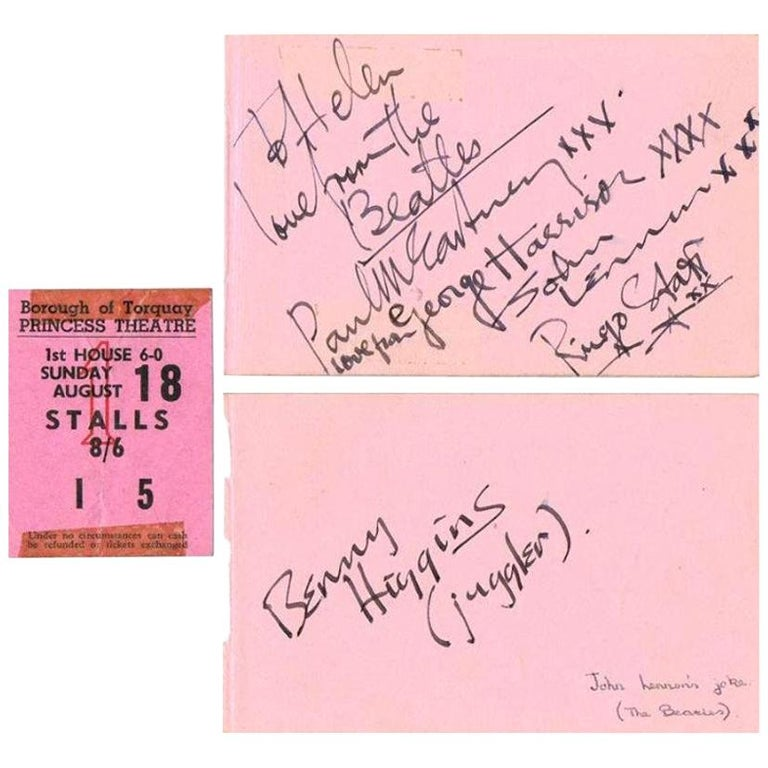 The Beatles Original 1963 Signatures in Autograph Book For Sale