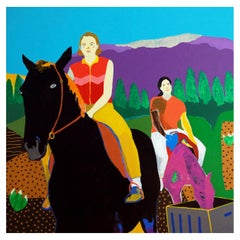 'The Beginners' Portrait Painting by Alan Fears Pop Art Horses