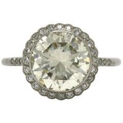 Best Art Deco Style 4 Round Carat Diamond Halo Engagement Ring Platinum