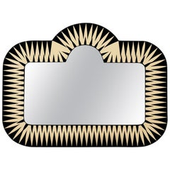 The Big Parade, Wide Oversized Mirror in Black & Ivory by Matteo Cibic