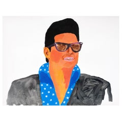 'The Big Roy' Portrait Painting Roy Orbison by Alan Fears Acrylic on Paper
