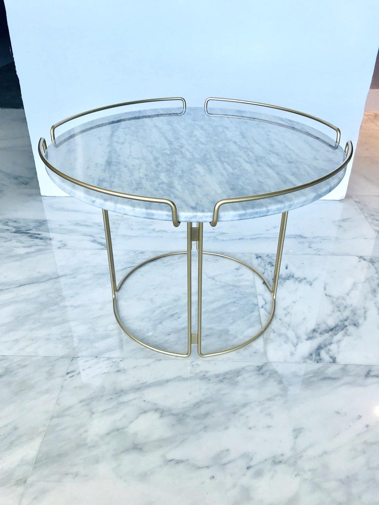 Bijou End Table in Marble and Matte Gold by Roche Bobois, 2018 For Sale 2