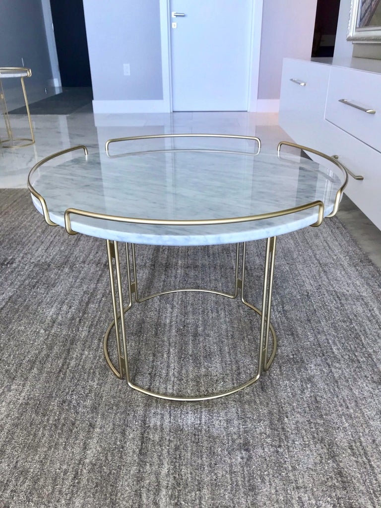 Mid-Century Modern Bijou End Table in Marble and Matte Gold by Roche Bobois, 2018 For Sale