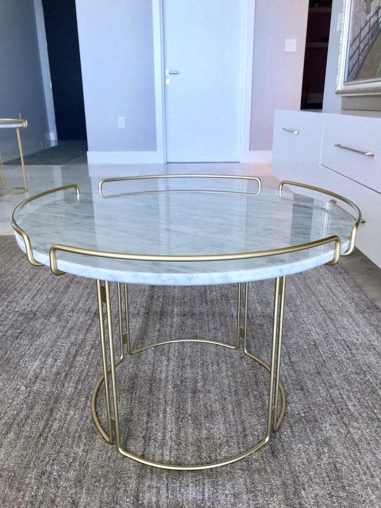 French Bijou End Table in Marble and Matte Gold by Roche Bobois, 2018 For Sale