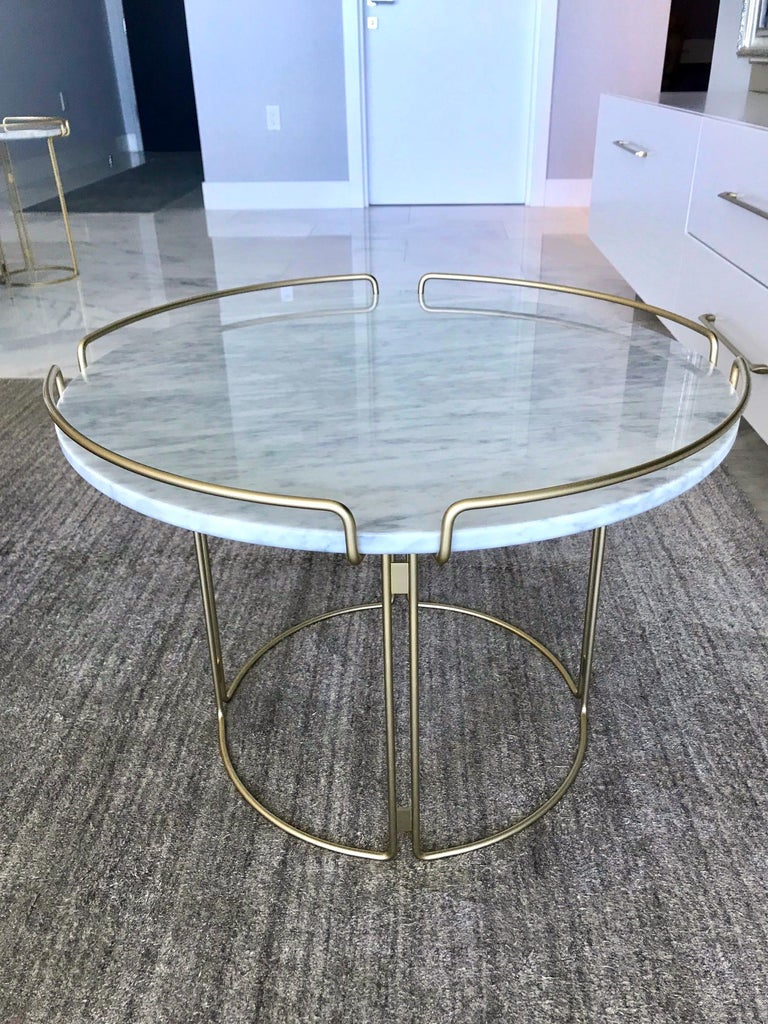 Lacquered Bijou End Table in Marble and Matte Gold by Roche Bobois, 2018 For Sale