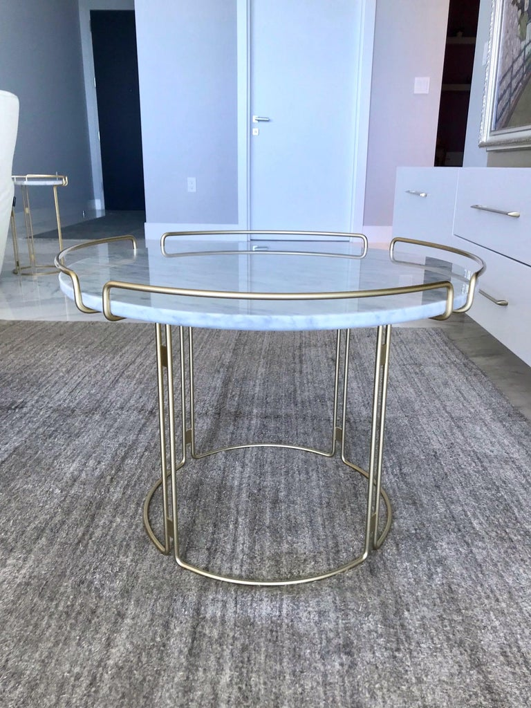 Bijou End Table in Marble and Matte Gold by Roche Bobois, 2018 In Excellent Condition For Sale In Miami, FL