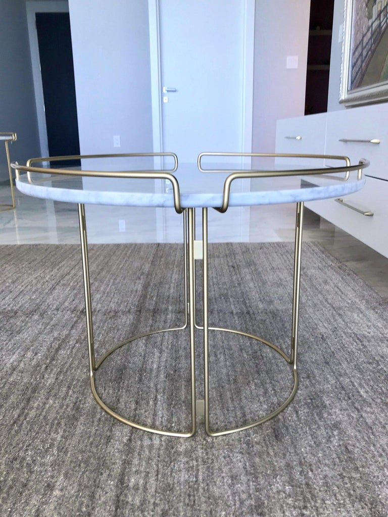 Contemporary Bijou End Table in Marble and Matte Gold by Roche Bobois, 2018 For Sale