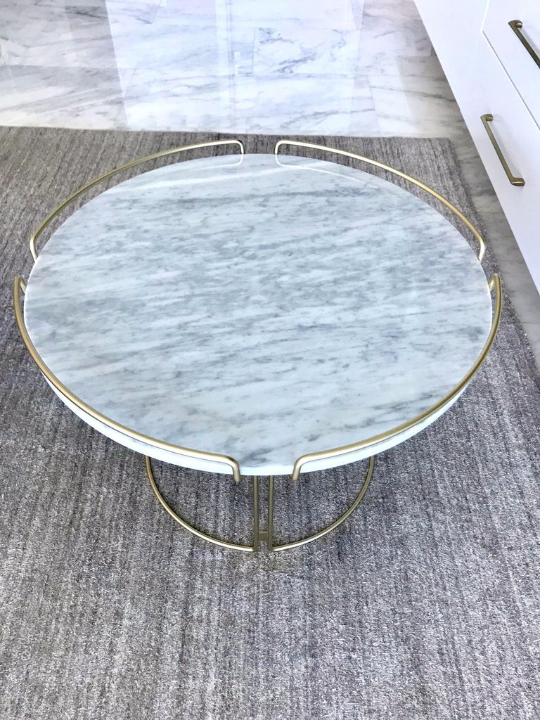 Steel Bijou End Table in Marble and Matte Gold by Roche Bobois, 2018 For Sale