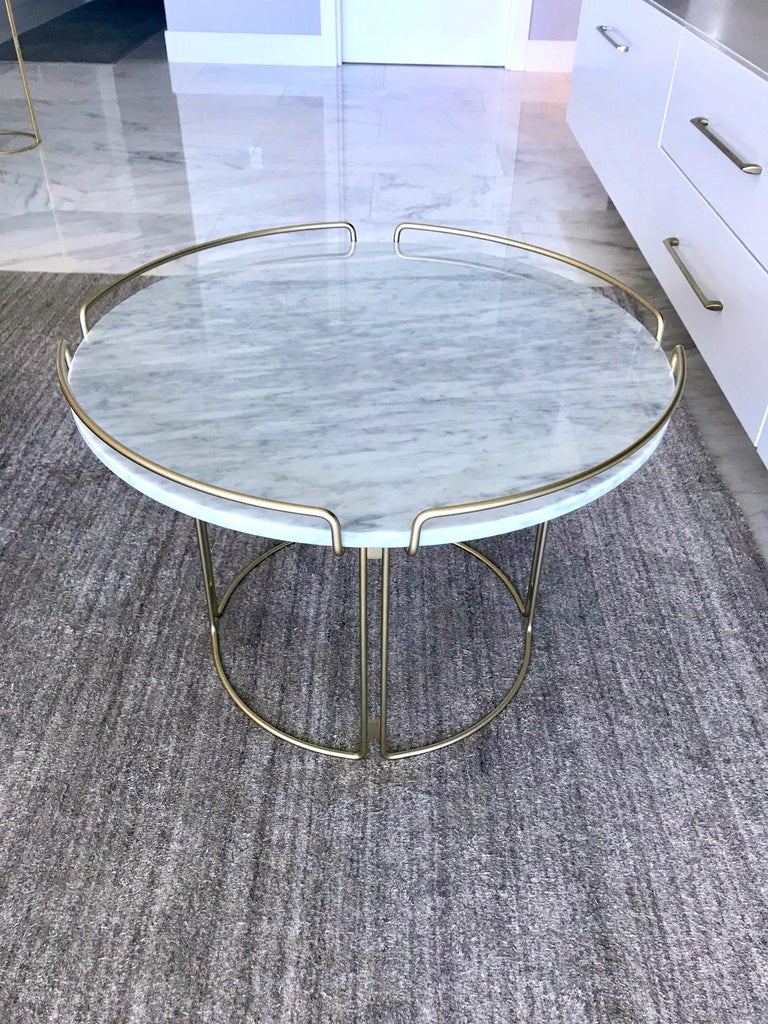 Bijou End Table in Marble and Matte Gold by Roche Bobois, 2018 For Sale 1