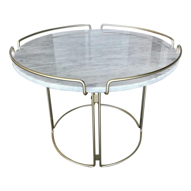 Bijou End Table in Marble and Matte Gold by Roche Bobois, 2018 For Sale