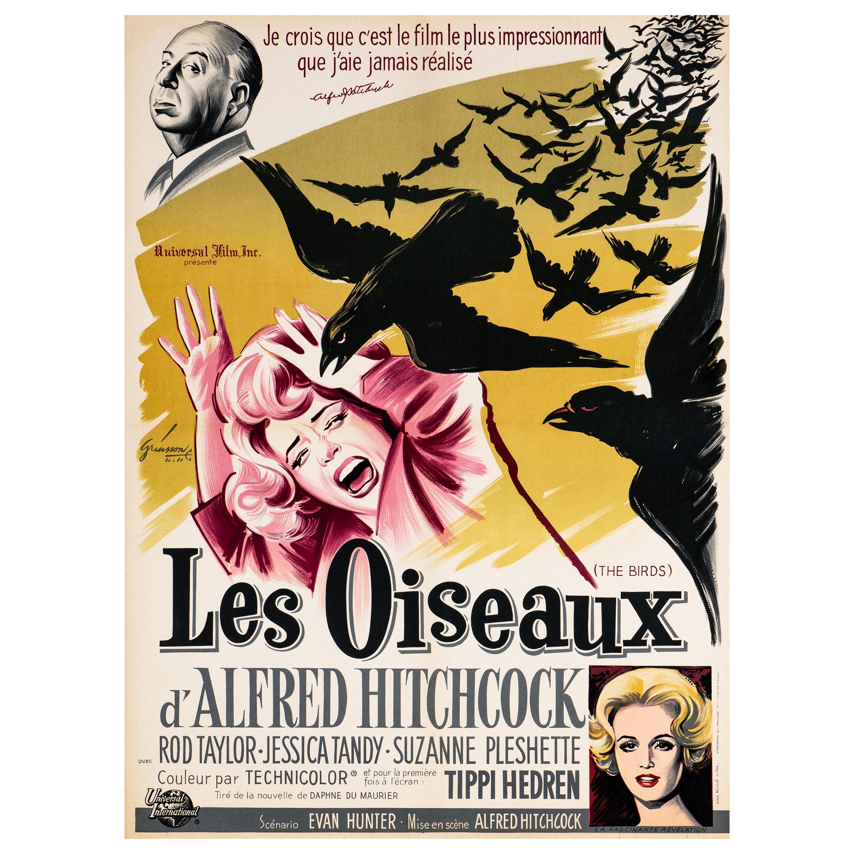 'The Birds' Original Vintage Movie Poster by Boris Grinsson, French, 1963