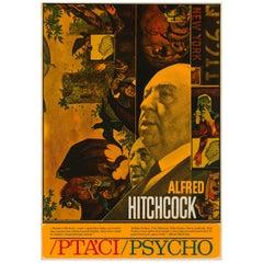 Die Vögel/Psycho Tschechische Film Filmplakat, Ziegler, 1970 Vintage Selten Hitchcock