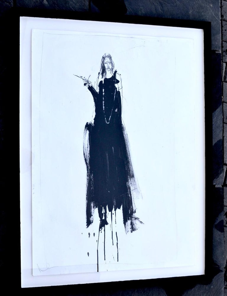 From the artists Black Cloth series. In a barn Paul gives a sitter a black cloth to hide behind whilst revealing their wishes, desires and innermost thoughts. In this case the subject is standing on a step ladder. In this series the artist has also