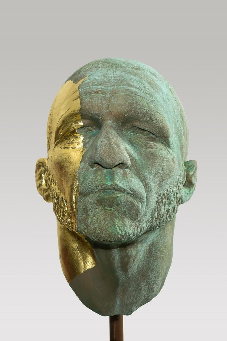 Classical Greek The Black Road Bronze and Gold, Classical Male Bust, Resin & Green Patina For Sale