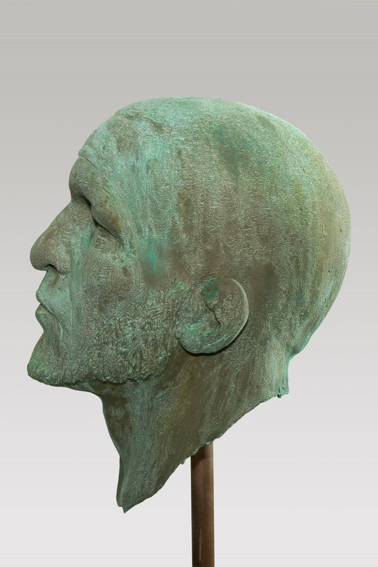 American The Black Road Bronze and Gold, Classical Male Bust, Resin & Green Patina For Sale