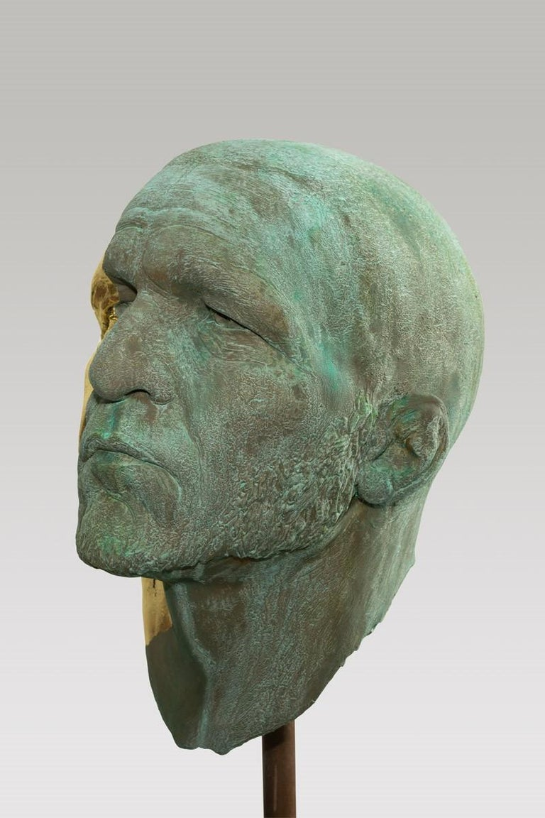 Cast The Black Road Bronze and Gold, Classical Male Bust, Resin & Green Patina For Sale