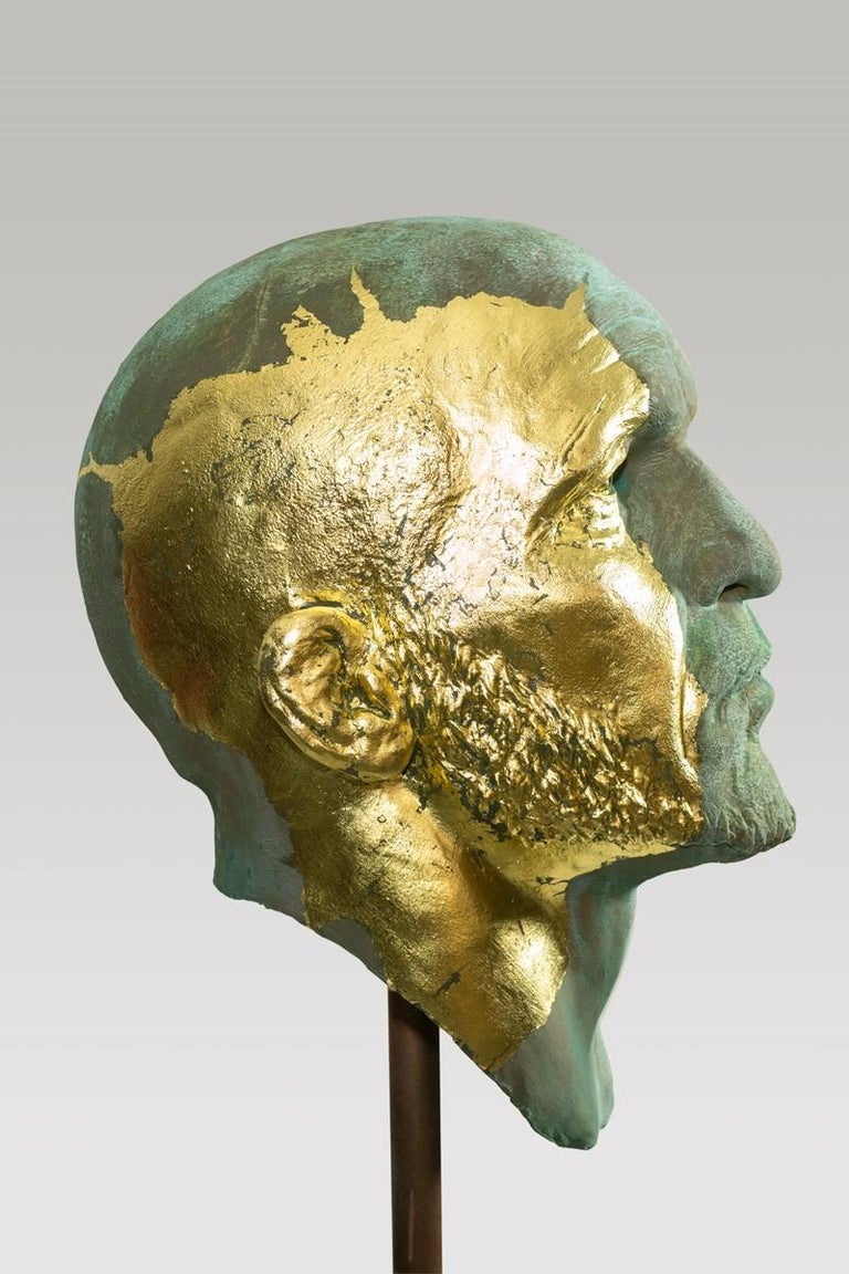 The Black Road Bronze and Gold, Classical Male Bust, Resin & Green Patina In New Condition For Sale In Chicago, IL