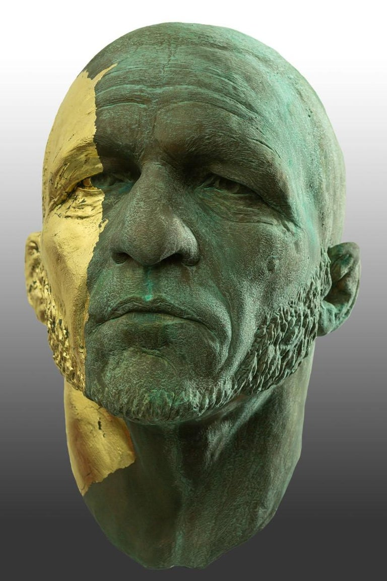 Contemporary The Black Road Bronze and Gold, Classical Male Bust, Resin & Green Patina For Sale