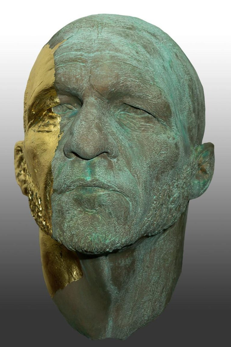 The Black Road Bronze and Gold, Classical Male Bust, Resin & Green Patina For Sale 1