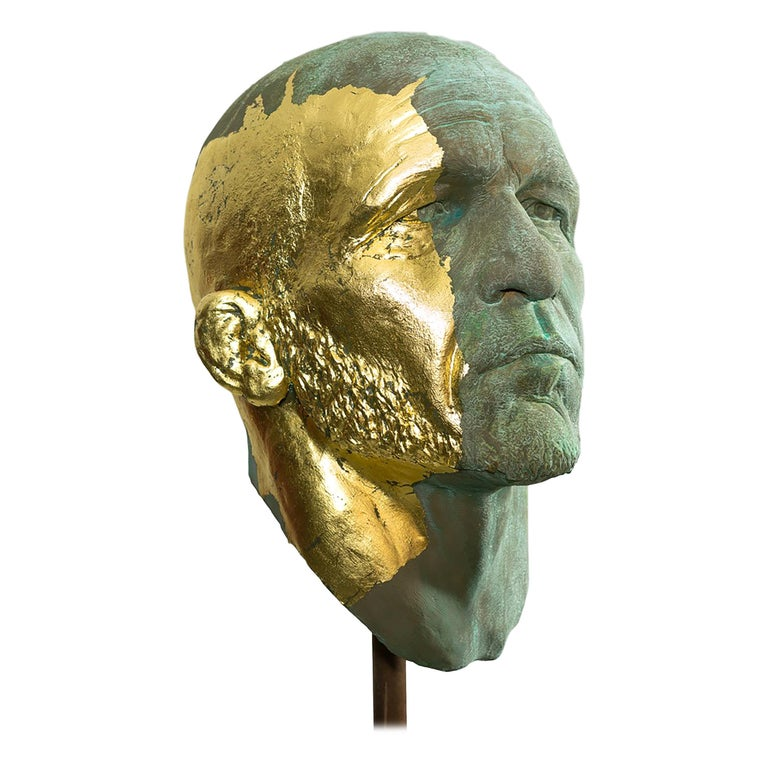 The Black Road Bronze and Gold, Classical Male Bust, Resin & Green Patina For Sale