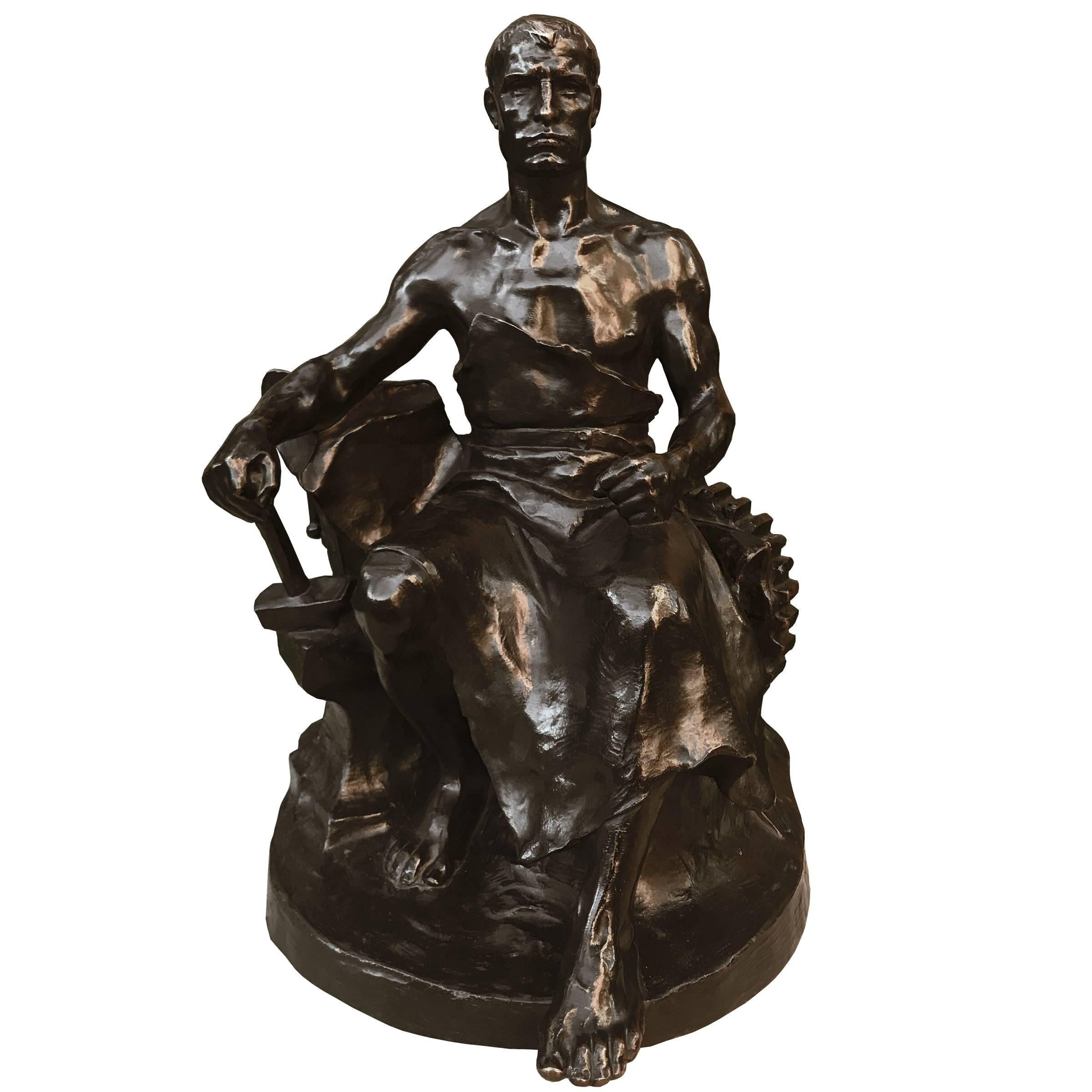 """The Blacksmith"", a Bronze Sculpture by Hans Müller"