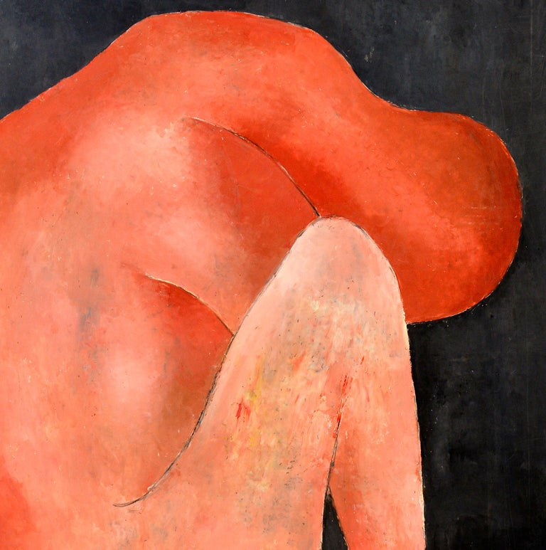 Paint The Blue Sock, Figure in Orange on a Black Background wearing a Blue Sock, 1983 For Sale