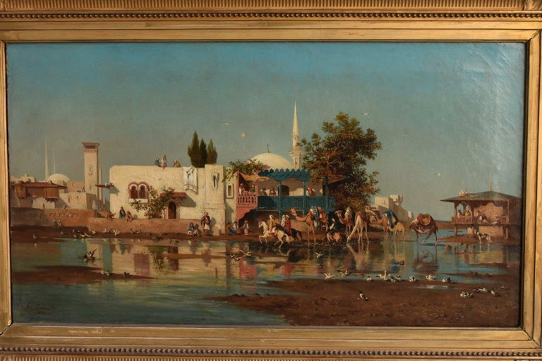 The Bosphorus oil on canvas Orientalist by Toulon painter Gustave Garaud (1844-1914) signed and dated 1874. Dimension canvas 82 cm par 56 cm (32,2 inches x 22 inches).