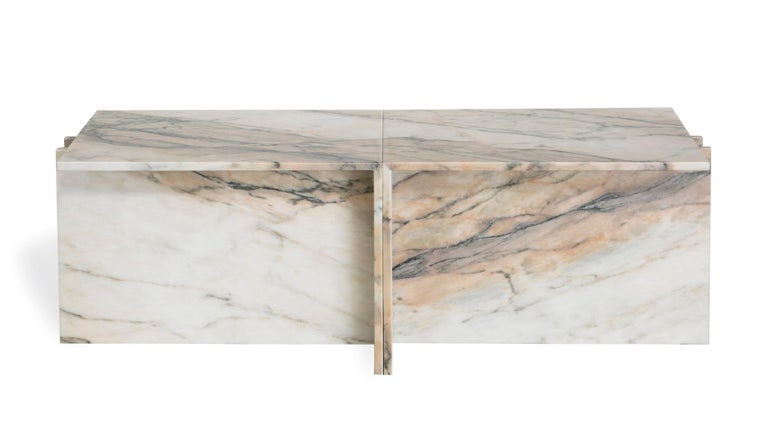 "Other ""Thè"" Brazilian Contemporary Side Table or Coffee Table in Marble For Sale"