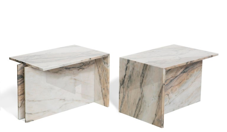 "Polished ""Thè"" Brazilian Contemporary Side Table or Coffee Table in Marble For Sale"